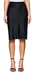 Nili Lotan Women's Silk Charmeuse Knee Skirt - Navy