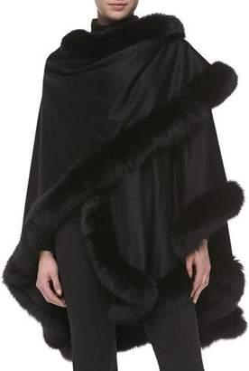Sofia Cashmere Fox Fur-Trimmed Cashmere U-Cape, Black