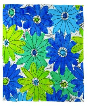 IDG Funky Florals Daisy Royal Blue Coral Fleece Throw