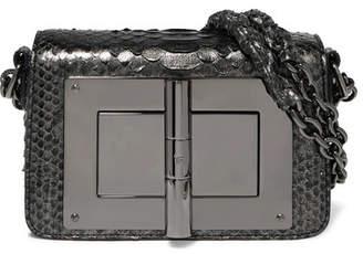 Tom Ford Natalia Mini Metallic Python Shoulder Bag - Gunmetal
