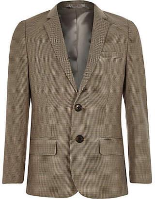 River Island Boys brown check suit blazer