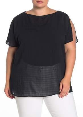 14th & Union Solid Slit Sleeve Tunic (Plus Size)