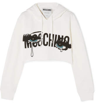 Moschino Cropped Printed Stretch-cotton Jersey Hoodie - White
