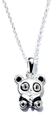 Jo for Girls Sterling Silver and Enamel Panda Pendant on 35.5cm Chain