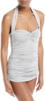 Norma Kamali Bill Mio Halter Ruched Heathered One-Piece Swimsuit