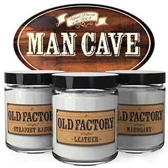 Factory Old Scented Candles for Men - Man Cave - Decorative Aromatherapy - Handmade in The USA with Only The Best Fragrance Oils - 3 x 4-Ounce Soy Candles