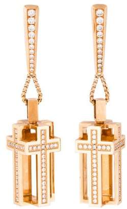 Roger Dubuis 18K 1.20ctw Diamond Follow Me Rectangle Cross Earrings rose 18K 1.20ctw Diamond Follow Me Rectangle Cross Earrings