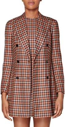 SUISTUDIO Joss Check Double Breasted Wool & Silk Long Jacket