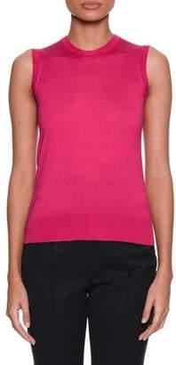 Dolce & Gabbana Crewneck Sleeveless Silk-Knit Shell Top