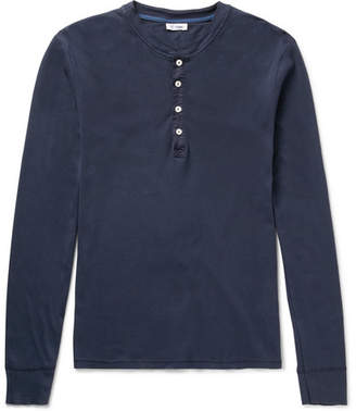 Schiesser Slim-Fit Cotton-Jersey Henley T-Shirt - Men - Navy
