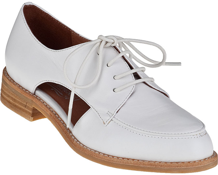Jeffrey Campbell Rossdale Cutout Oxford White Leather