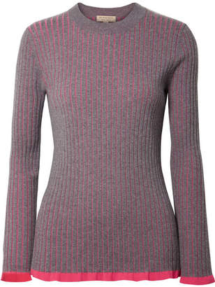 Burberry Striped Ribbed Cashmere And Silk-blend Sweater - Purple