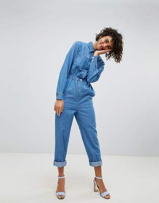 Asos DESIGN denim utility jumpsuit in blue