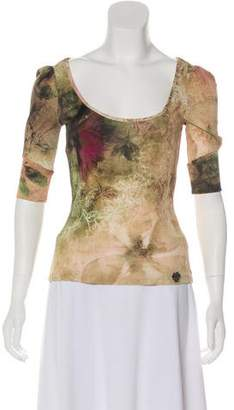Galliano Floral Print Three-Quarter Sleeve Top