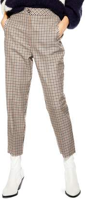Topshop Bonded Check Tapered Trousers