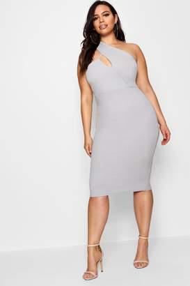 boohoo Plus High Neck Cut Out Detail Midi Dress