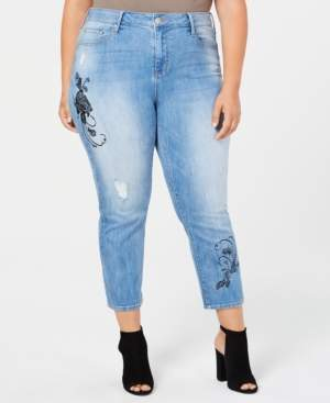 Seven7 Jeans Trendy Plus Size Cropped Embroidered Jeans