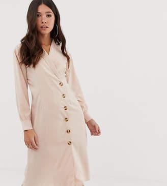 Missguided midi shirt dress in beige