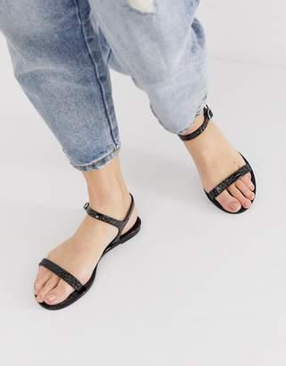 Asos Design DESIGN Flame flat sandals in black croc