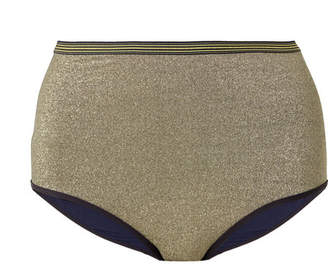 Stella McCartney Striped Stretch-lurex Bikini Briefs - Gold