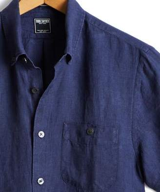 Todd Snyder Short Sleeve Linen Button Down Shirt in Indigo