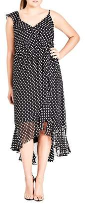 City Chic Dot Asymmetrical Wrap Dress