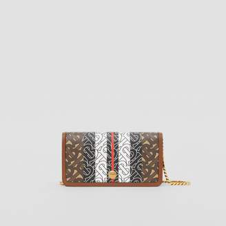 Burberry Monogram Stripe E-canvas Phone Wallet with Strap