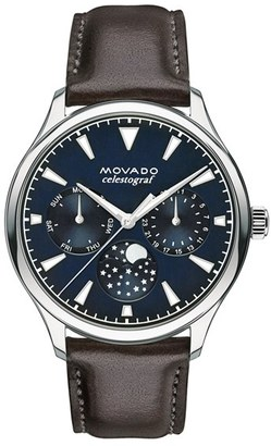 Women's Movado 'Heritage' Multifunction Leather Strap Watch, 36Mm $650 thestylecure.com