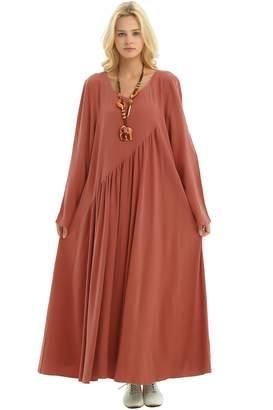 d9d8c49817 Anysize Sides Seam Pockets Linen Cotton 4-Season Plus Size Clothing Y66