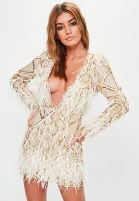 Missguided Gold Embellished Dress