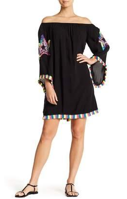 La Moda Fringe Trim Off-the-Shoulder Dress