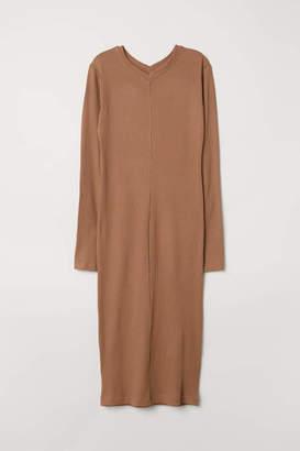 H&M Rib-knit Dress - Black - Women