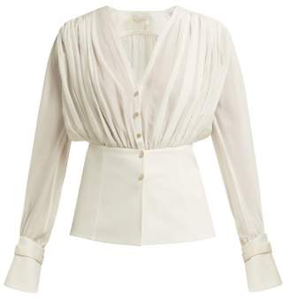 Chloé Gathered Silk Pongee V Neck Blouse - Womens - White