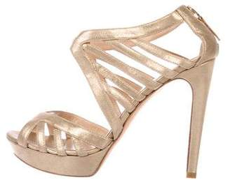 Fendi Metallic Leather Cage Sandals