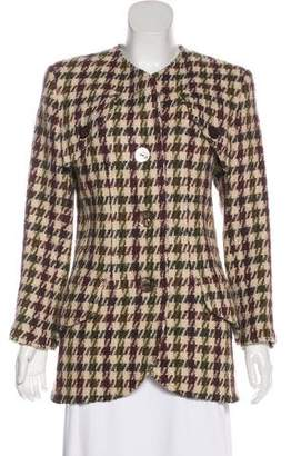 Valentino Houndstooth Collarless Jacket