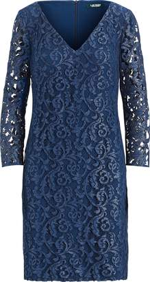 Ralph Lauren Floral Lace V-Neck Dress