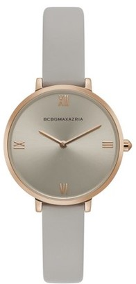 BCBGMAXAZRIA Women's Rose Gold Case Grey Dial Grey Strap Watch