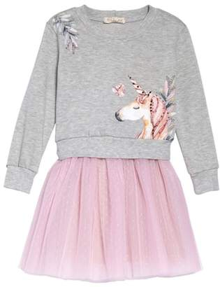 Truly Me Unicorn Sweatshirt & Tutu Dress Set