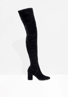 Velvet Over The Knee Boots