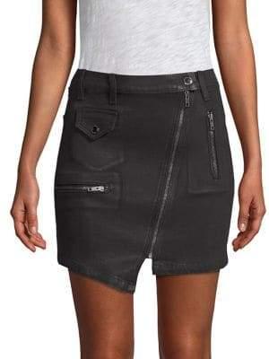 Hudson Jeans Zippered Asymmetrical Moto Skirt