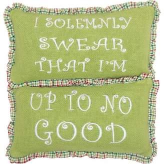 Ashton & Willow Bright Green Seasonal Decor Whimsical Christmas Up To No Good Cotton Embroidered Cotton Burlap Text Rectangle Pillow Set of 2