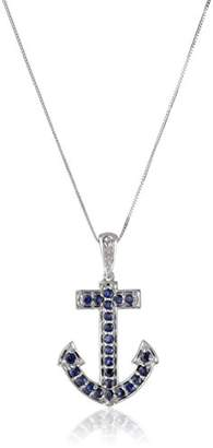 10k White Gold Round-Shaped Blue Sapphire and Diamond-Accent Anchor Pendant Necklace (0.01 cttw