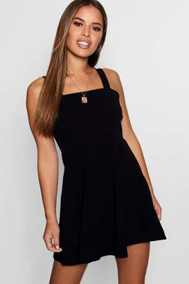 boohoo Petite Mckayla Square Neck Strappy Skater Dress