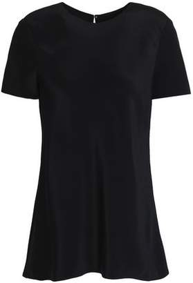 Tibi Fluted Silk Crepe De Chine T-Shirt