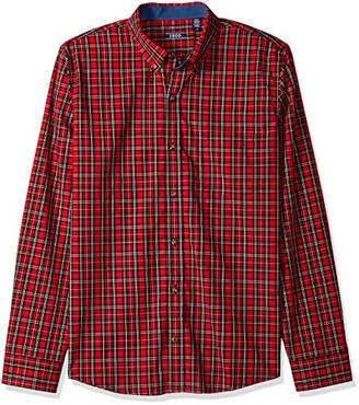 Izod Men's Long Sleeve Tartan Non Iron Plaid Shirt