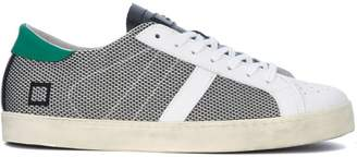 D.A.T.E Hill Low Argegno White And Black Fabric And Leather Sneaker