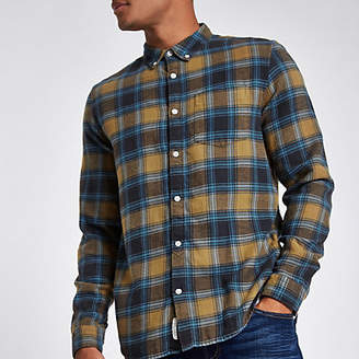 River Island Mens Yellow check long sleeve shirt