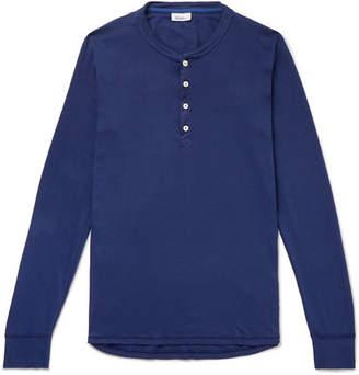 Schiesser Karl Heinz Slim-Fit Garment-Dyed Cotton-Jersey Henley T-Shirt