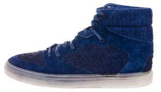 Balenciaga Distressed Suede High-Top Sneakers