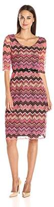 N. Star Vixen Women's Elbow Sleeve Fit Flare Textured Print Lace Dress with Waist-Cinching Belt
